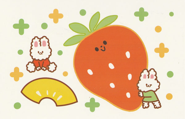 Happiness Animals Postcard - Bunny Rabbit Strawberry