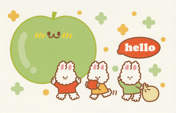 Happiness Animals Postcard - Bunny Rabbit Green Apple