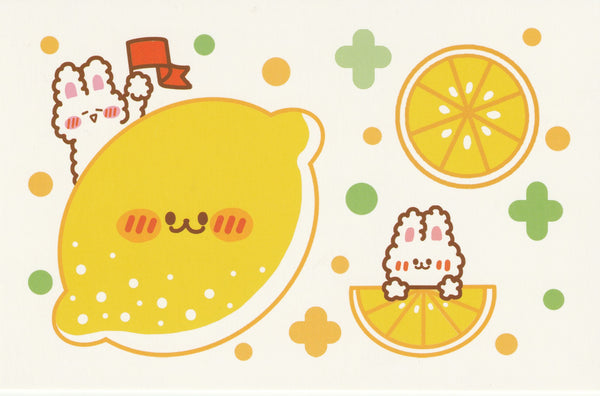 Happiness Animals Postcard - Bunny Rabbit Lemon