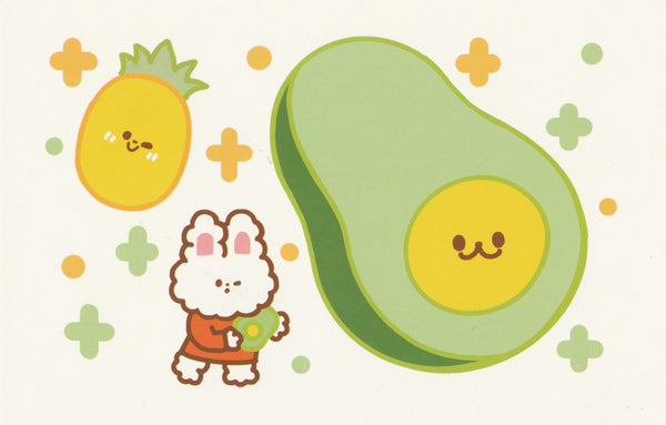 Happiness Animals Postcard - Bunny Rabbit Avocado