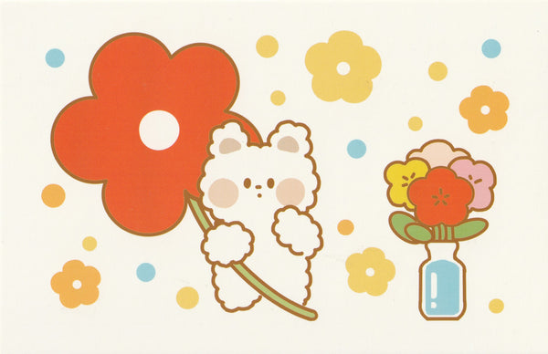 Happiness Animals Postcard - Bear Flowers