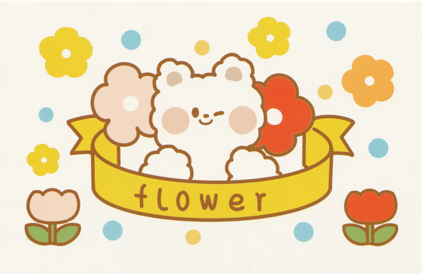 Happiness Animals Postcard - Bear Flower Badge