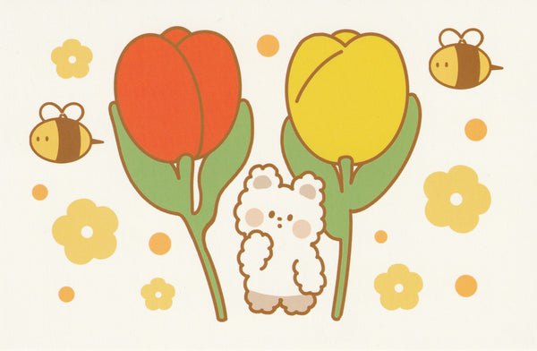 Happiness Animals Postcard - Bear Tulips & Bees