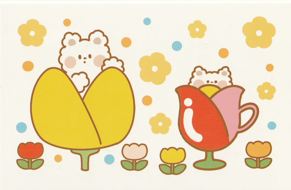 Happiness Animals Postcard - Bear Tulips Cups