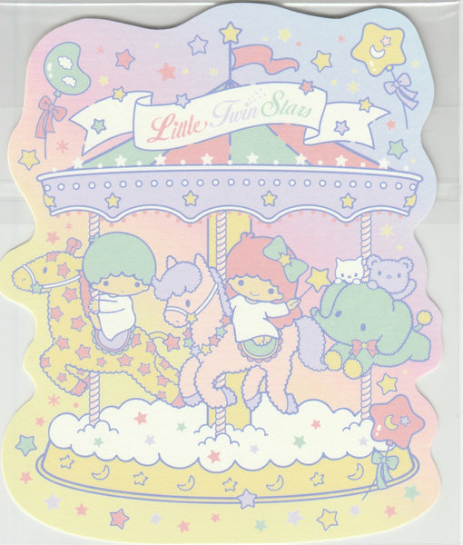Japan Sanrio - Little Twin Stars Kiki & Lala Carousel Postcard