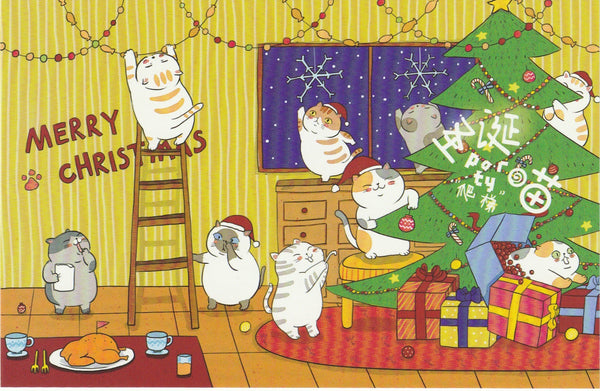 Christmas Cats Postcard - CC06