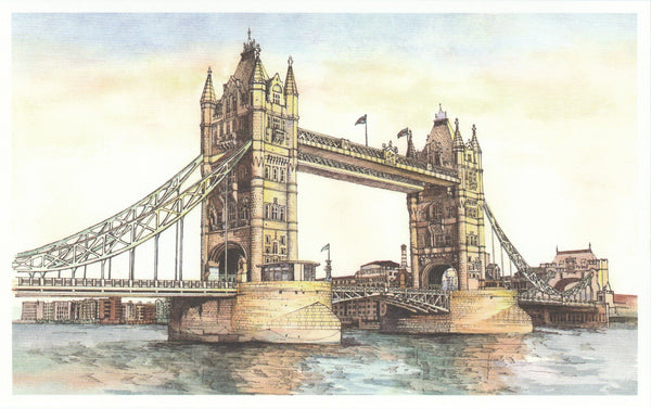 World Landmarks Postcard - United Kingdom London Tower Bridge