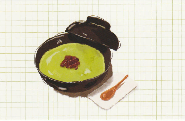 Matcha Green Tea Postcard - CL07 (Shiratama Red Bean)