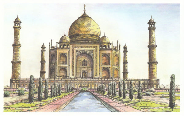 World Landmarks Postcard - India Taj Mahal
