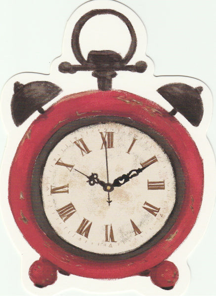 Vintage Retro Collection - Red Clock Postcard
