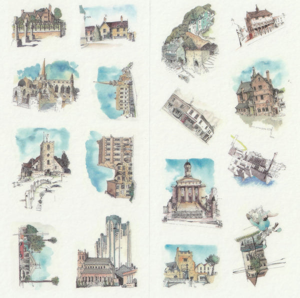 [FREE with US$10 purchase!] Architectural Buildings Sticker Set B