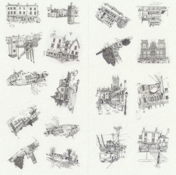 [FREE with US$10 purchase!] Architectural Buildings Sticker Set C