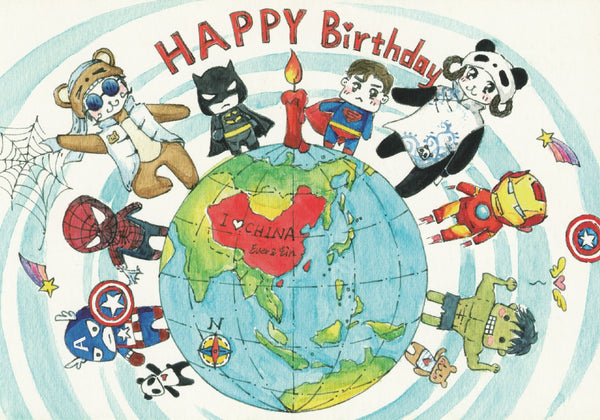 Ever & Ein Postcard - Occasions - Happy Birthday (Marvel Heroes Avengers)