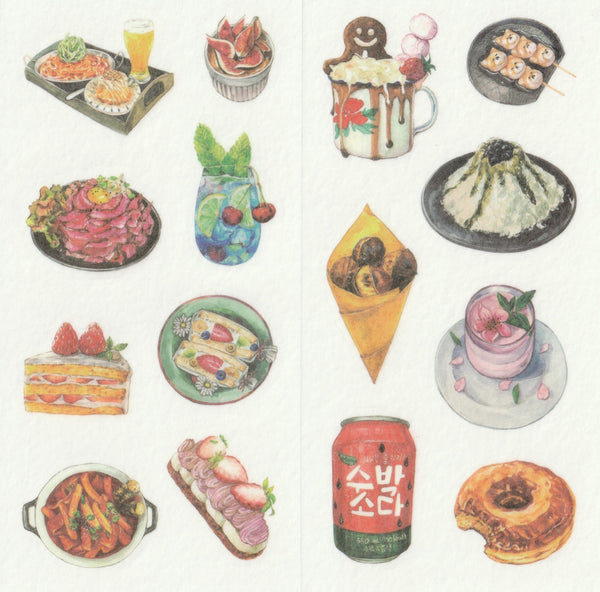 [FREE with US$10 purchase!] Food Series - Korean & Japanese - Sticker Set B