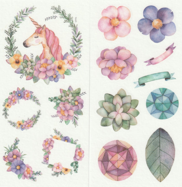 [FREE with US$10 purchase!] Floral Series - Magical Flowers Blooms Stickers Set A