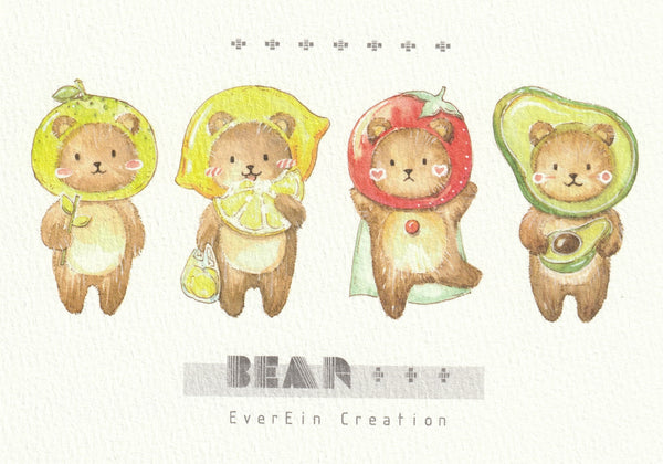 Ever & Ein Postcard - Bear & Panda Series (B01)