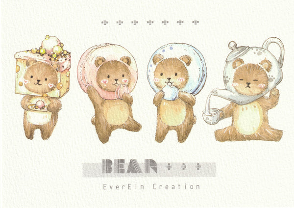 Ever & Ein Postcard - Bear Series (B02)