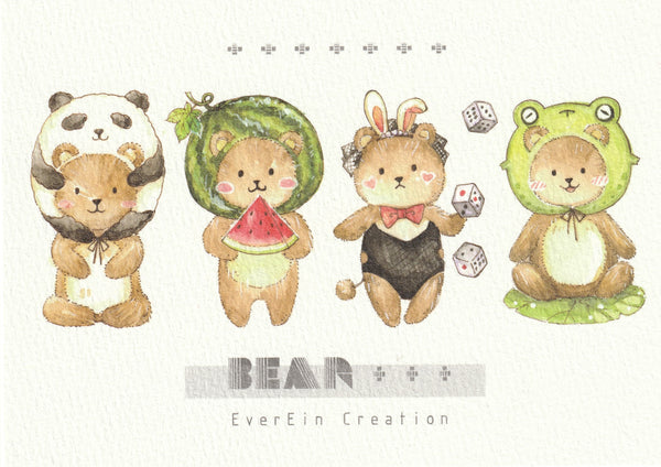 Ever & Ein Postcard - Bear & Panda Series (B05)