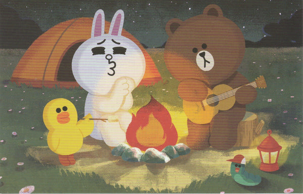 LINE Friends Official Character Postcard - Campfire Fun