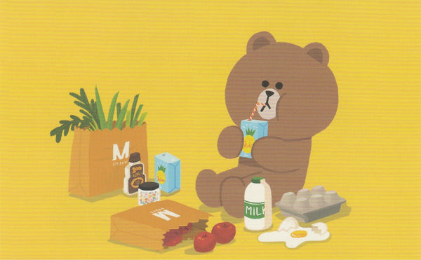 LINE Friends Official Character Postcard - Brown goes grocery shopping