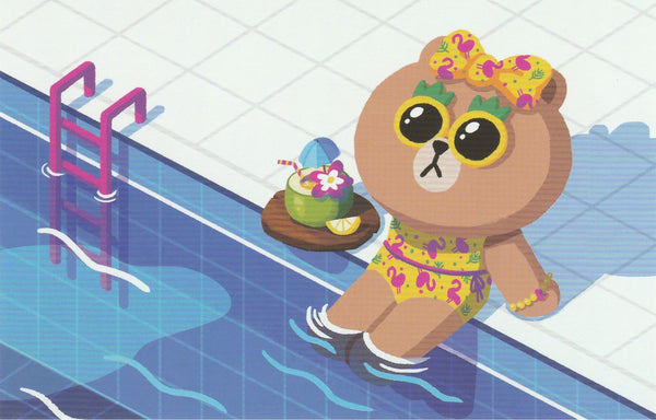 LINE Friends Official Character Postcard - Brown suntanning by the pool