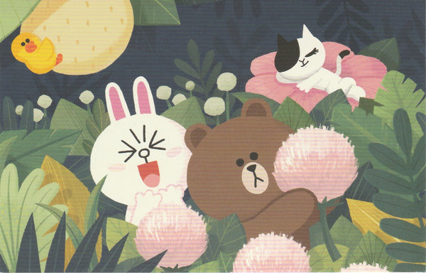 LINE Friends Official Character Postcard - Brown, Cony & Jessica in a Garden
