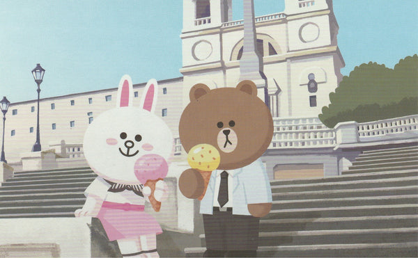 LINE Friends Official Character Postcard - Brown & Cony Honeymoon Gelato Icecream