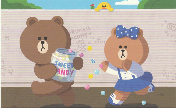 LINE Friends Official Character Postcard - Brown & Choco Sweet Candy