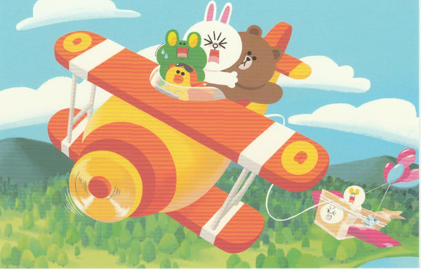 LINE Friends Official Character Postcard - Aeroplane Adventure