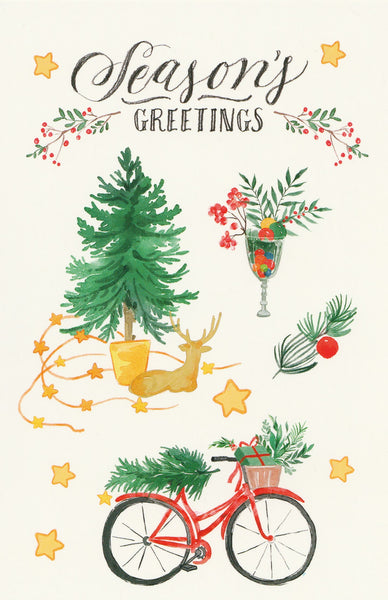 Seasons Greetings Postcard - Christmas Tree & Bicycle