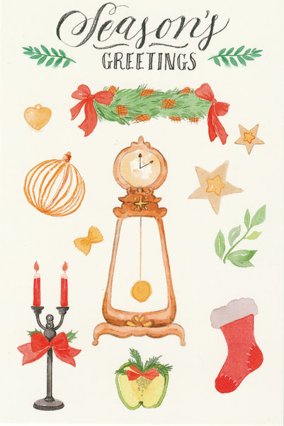 Seasons Greetings Postcard - Christmas Clock
