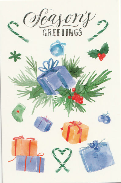 Seasons Greetings Postcard - Christmas Presents