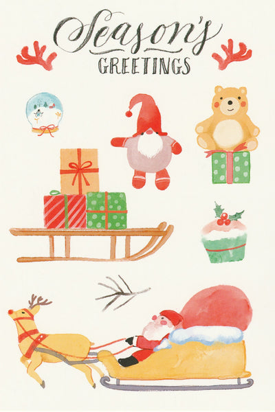Seasons Greetings Postcard - Christmas Presents Santa Claus