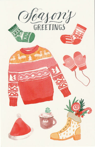 Seasons Greetings Postcard - Christmas Sweater