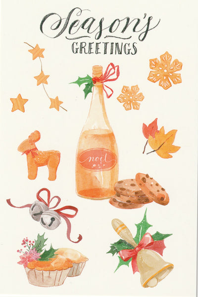 Seasons Greetings Postcard - Christmas Champange