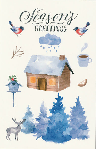 Seasons Greetings Postcard - Christmas Hut