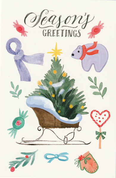 Seasons Greetings Postcard - Christmas Tree & Polar Bear