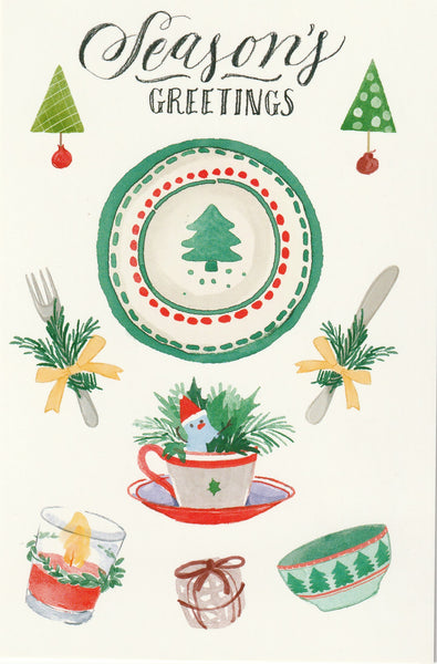 Seasons Greetings Postcard - Christmas Dinner