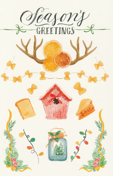 Seasons Greetings Postcard - Christmas Decorations Country