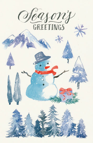 Seasons Greetings Postcard - Christmas Snowman Mountains