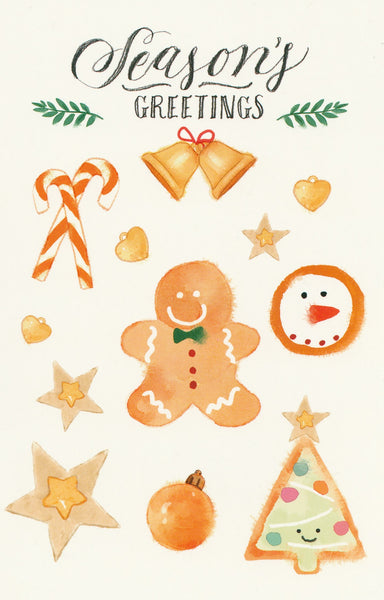 Seasons Greetings Postcard - Christmas Gingerbread Man