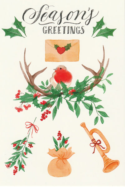 Seasons Greetings Postcard - Christmas Robin Bird