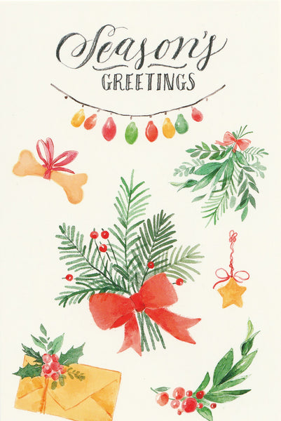 Seasons Greetings Postcard - Christmas Ferns