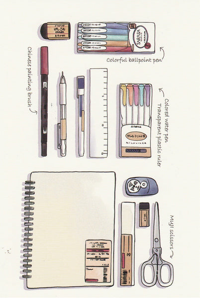 Stationery Illustration Postcard - Drawing Supplies