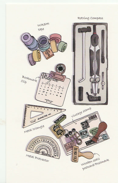 Stationery Illustration Postcard - Mathematical Set