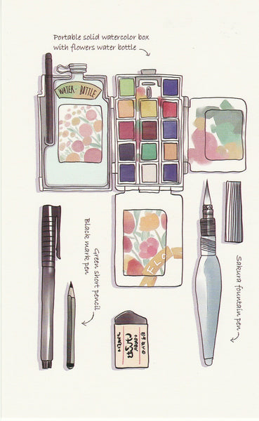Stationery Illustration Postcard - Sakura Fountain Pen & Water Colour Set