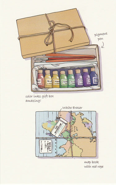 Stationery Illustration Postcard - Pigment Pen & Map Book