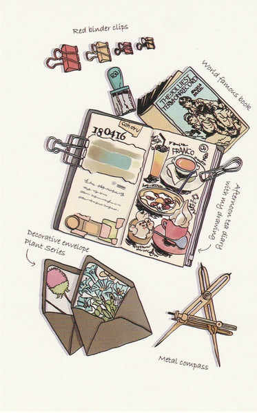 Stationery Illustration Postcard - Binder Clip Diary