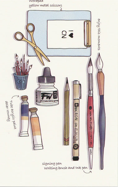 Stationery Illustration Postcard - Acrylic Paint