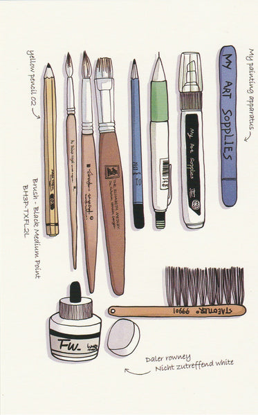 Stationery Illustration Postcard - Painting Supplies